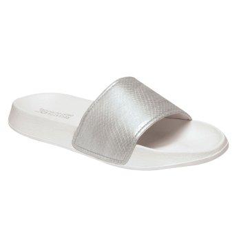 Women's Shift Sliders Silver Shine White