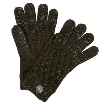 Women's Multimix III Acrylic Knit Diamond Gloves Dark Khaki