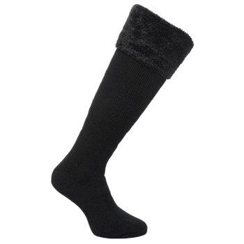 Women's Fur Collar Wellington Socks Black
