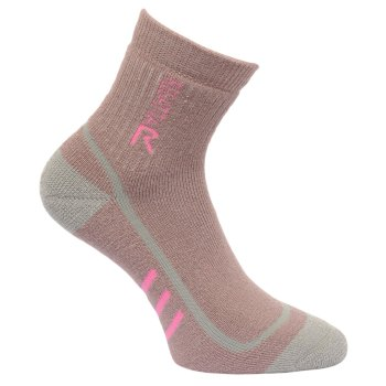 Women's 3 Season Heavyweight Trek & Trail Socks Twilight Mauve Raspberry Rose