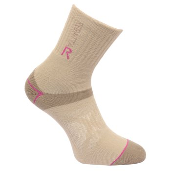 Women's Two Layer Blister Protection Socks Taupe Vivid Viola