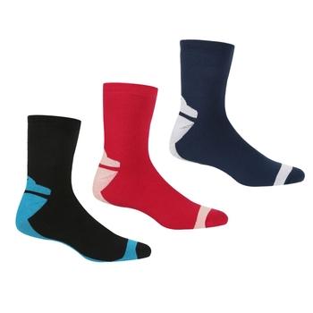 Women's 3 Pair Outdoor Lifestyle Socks Black Cherry Pink