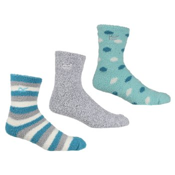 Women's 3 Pair Cosy Lounge Socks Niagra Blue Light Steel