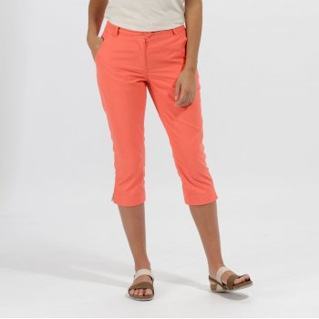 Maleena Coolweave Cotton Capris Trousers Neon Peach