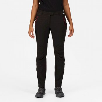 Women's Highton Stretch Walking Trousers Black Dark Cerise