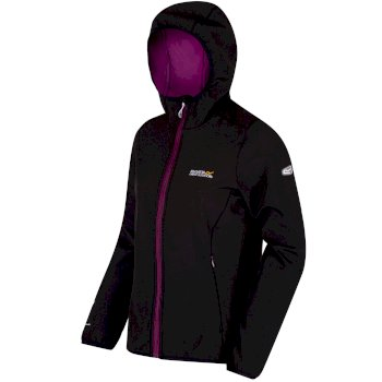 Women's Arec Stretch Hooded Softshell Jacket Black Vivid Viola