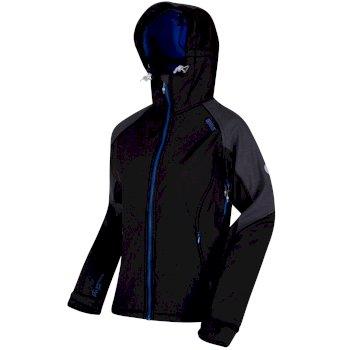 Desoto III Wind Resistant Hooded Softshell Jacket Black Seal Grey Reflective