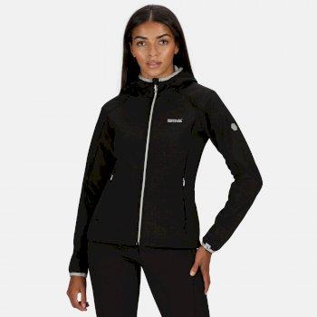 Women's Arec II Hooded Stretch Softshell Jacket Black Light Steel