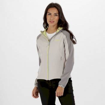 Women's Arec II Hooded Stretch Softshell Jacket Light Steel Lime Fizz