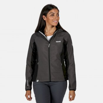 Women's Arec II Hooded Stretch Softshell Jacket Black Marl Black