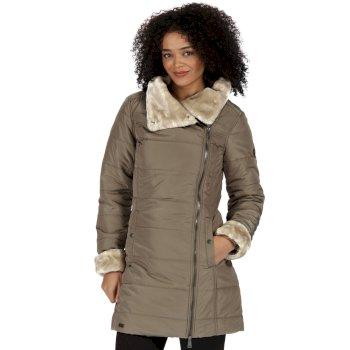 Penthea Long Length High Shine Puffer Jacket with Asymmetric Zip Sand