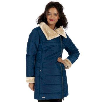 Penthea Long Length High Shine Puffer Jacket with Asymmetric Zip Majolica Blue