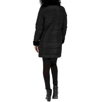 Penthea Long Length High Shine Puffer Jacket with Asymmetric Zip Black