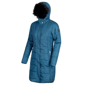 Women's Fermina II Long Length Quilted Puffer Parka Jacket Majolica Blue