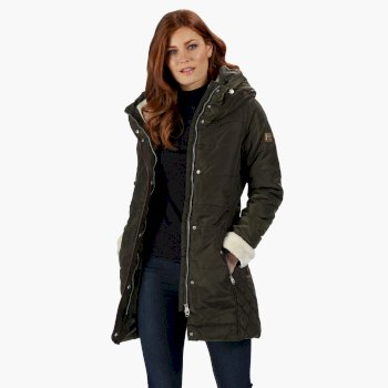 Women's Patchouli Quilted Long Length Hooded Jacket Dark Khaki