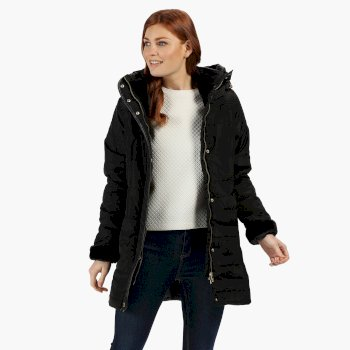 Women's Patchouli Quilted Long Length Hooded Jacket Black