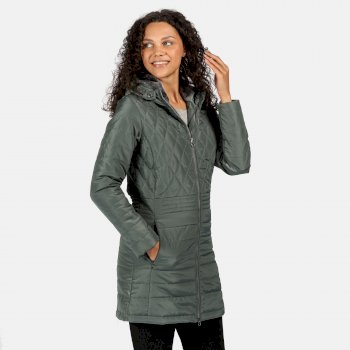 Women's Parmenia Insulated Quilted Hooded Parka Jacket Balsam Green