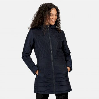 Women's Parmenia Insulated Quilted Hooded Parka Jacket Navy