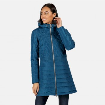 Women's Parmenia Insulated Quilted Hooded Parka Jacket Blue Sapphire