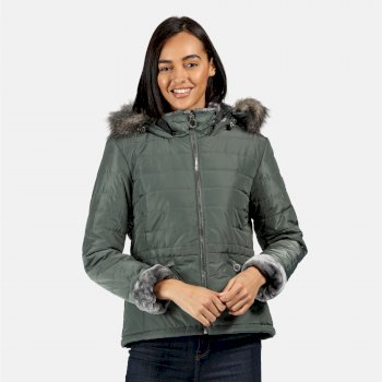 Women's Westlynn Insulated Quilted Fur Trimmed Hooded Jacket Balsam Green