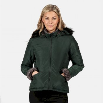 Women's Westlynn Insulated Quilted Fur Trimmed Hooded Jacket Darkest Spruce