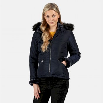 Women's Westlynn Insulated Quilted Fur Trimmed Hooded Jacket Navy