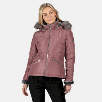 Kimberley Walsh Westlynn Insulated Quilted Fur Trimmed Hooded Jacket Dusky Heather