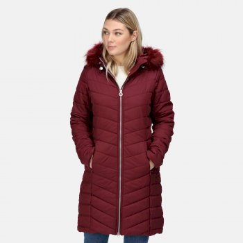 Women's Fritha Insulated Quilted Parka Jacket Claret