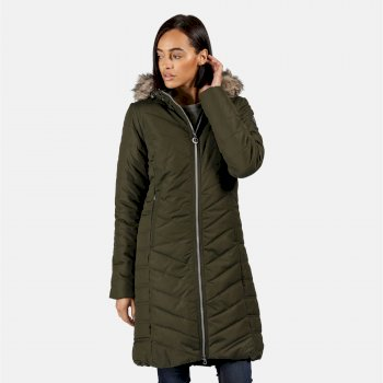Women's Fritha Insulated Quilted Parka Jacket Dark Khaki