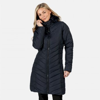 Women's Fritha Insulated Quilted Parka Jacket Navy