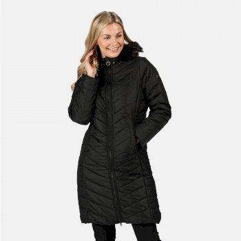 Women's Fritha Insulated Quilted Fur Trimmed Hooded Parka Jacket Black