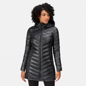 Women's Andell II Lightweight Insulated Quilted Hooded Parka Walking Jacket Black