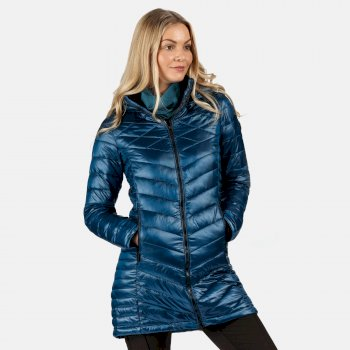 Women's Andell II Lightweight Insulated Quilted Hooded Parka Walking Jacket Blue Opal
