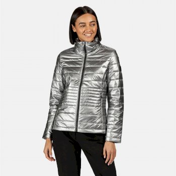 Kimberley Walsh Lustel Lightweight Insulated Quilted Walking Jacket Pewter Metallic