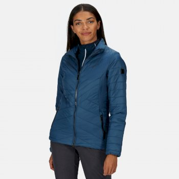 Women's Voltera Loft Insulated Quilted Hooded Heated Walking Jacket Blue Opal