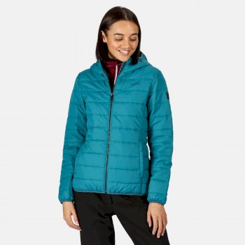 Women's Helfa Insulated Quilted Hooded Hiking Jacket Ocean Depths