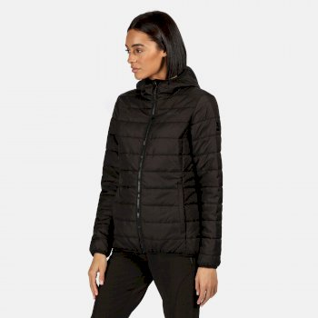 Women's Helfa Insulated Quilted Hooded Walking Jacket Black