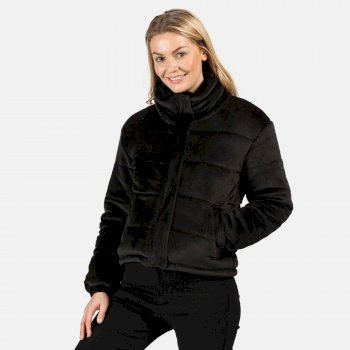 Women's Elbury Insulated Quilted Velour Puffer Walking Jacket Black