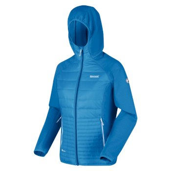 Women's Andreson V Hybrid Insulated Quilted Hooded Walking Jacket Blue Aster
