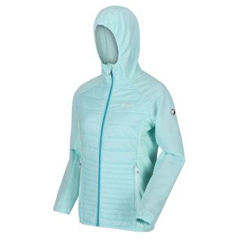 Women's Andreson V Hybrid Insulated Quilted Hooded Walking Jacket Cool Aqua