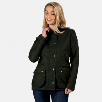Women's Lady Country Water Repellent Wax Jacket Dark Khaki