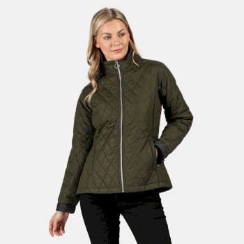 Women's Charna Insulated Diamond Quilted Jacket Dark Khaki