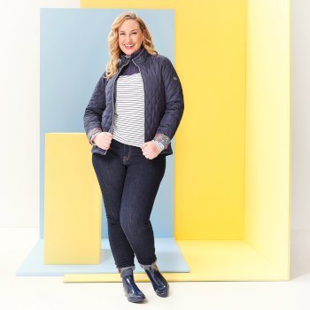 Women's Charna Insulated Diamond Quilted Jacket Navy Ditsy