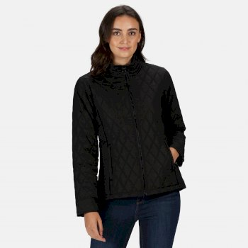 Women's Charna Insulated Diamond Quilted Jacket Black Small Spot