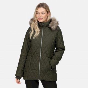 Women's Zalika Insulated Quilted Jacket Dark Khaki