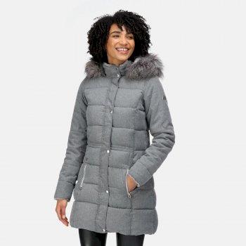 Women's Della Insulated Parka Jacket Cyberspace Marl Wool Effect