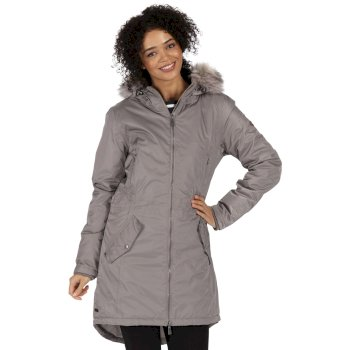 Lucetta Breathable Waterproof Insulated High Shine Parka Jacket Sand