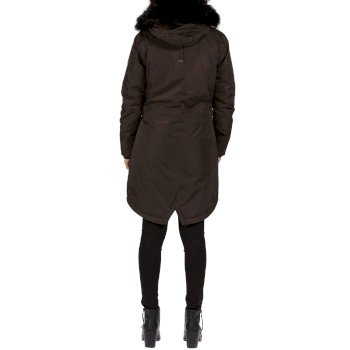 Lucetta Breathable Waterproof Insulated High Shine Parka Jacket Dark Khaki
