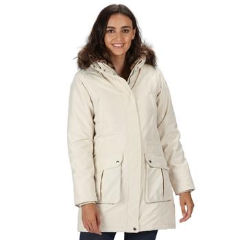 Women's Sefarina Waterproof Insulated Fur Trimmed Hooded Parka Jacket Light Vanilla