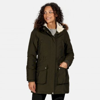 Women's Sefarina Waterproof Insulated Fur Trimmed Hooded Parka Jacket Dark Khaki
